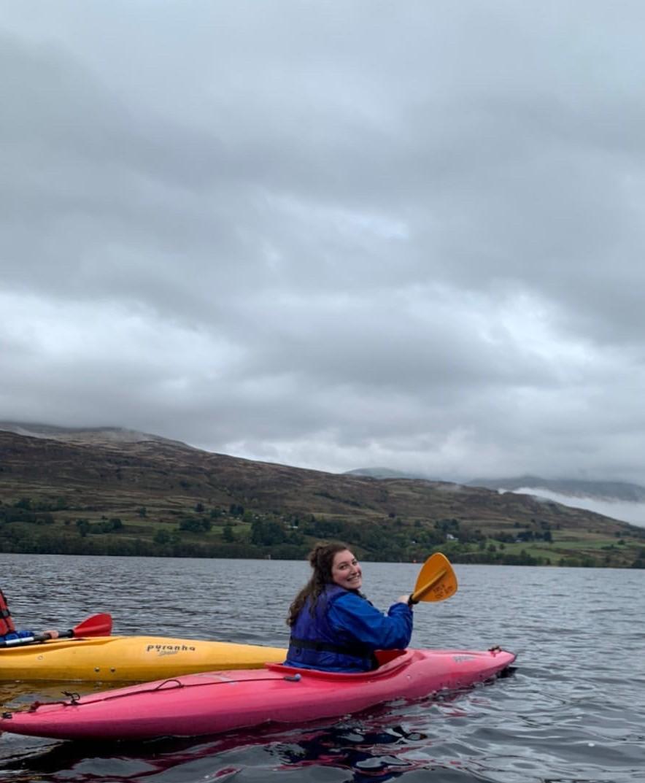 Courtney kayaking at Firbush